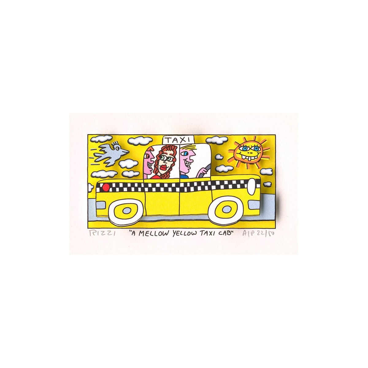 A mellow yellow taxi cab von James Rizzi