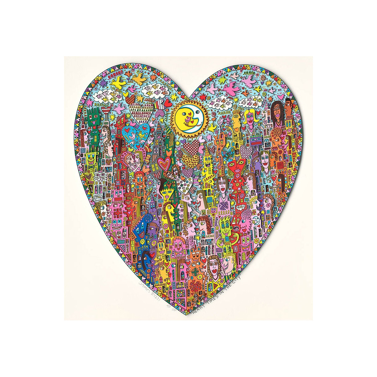Heart times in the city von James Rizzi