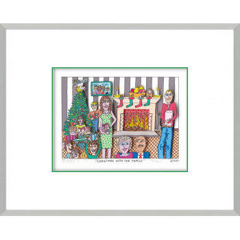 Christmas with the family von James Rizzi mit Magnetrahmen