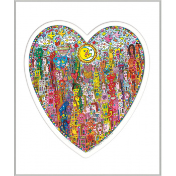 Heart times in the city von James Rizzi mit Magnetrahmen
