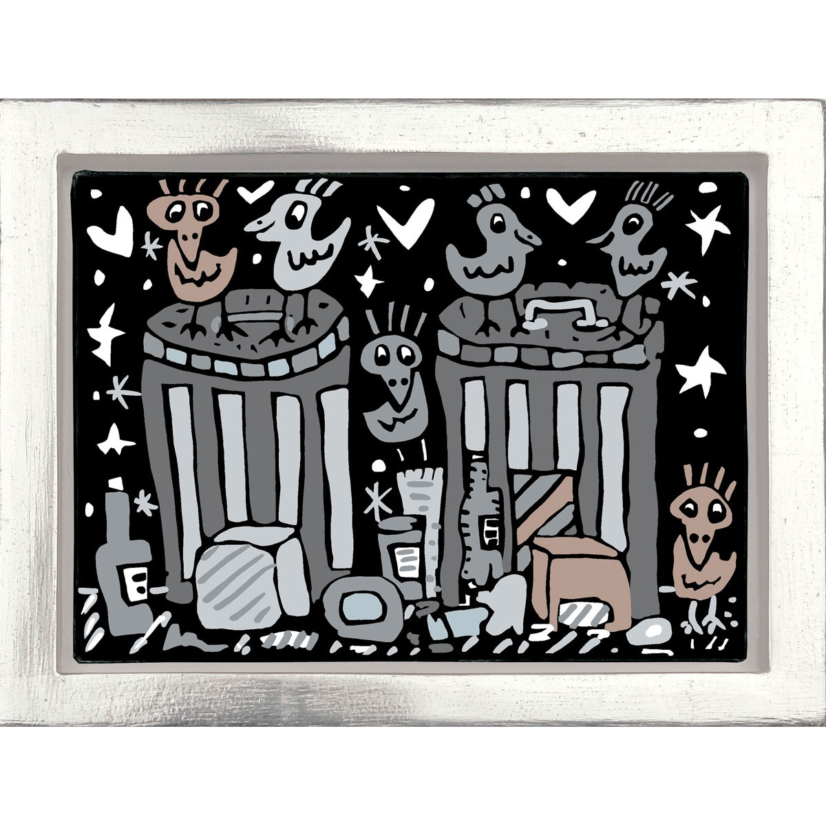 Garbage night von James Rizzi mit Rahmung