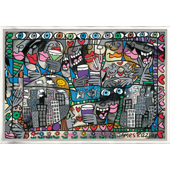 So happy together von James Rizzi mit Rahmung