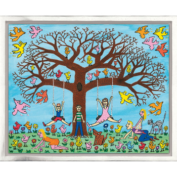 Tree Times the fun von James Rizzi mit Rahmung