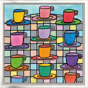 The most colorful cups of coffee von James Rizzi mit Rahmung