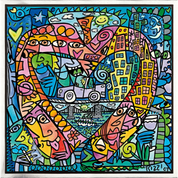 My heart lives in my big apple von James Rizzi mit Rahmung