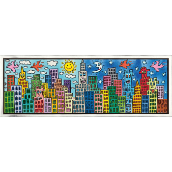 My candy - colored city of love von James Rizzi mit Rahmung