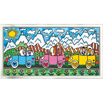 Driving through the Alps von James Rizzi mit Rahmung