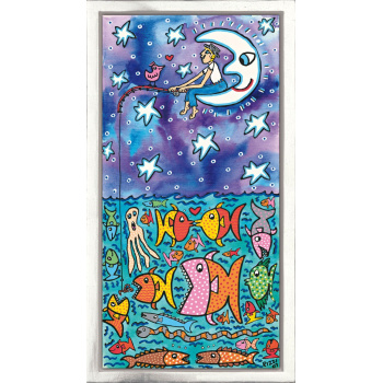 The big sky and the deep sea - lots of fish for you and me von James Rizzi mit Rahmung