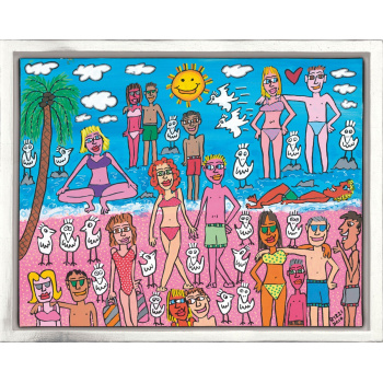 Being on the beach von James Rizzi mit Rahmung