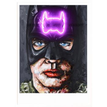 Batman von Peintre X in weisser Holzrahmung