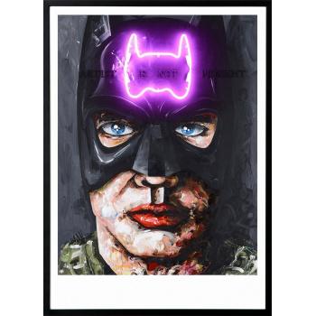 Batman von Peintre X in schwarzer Holzrahmung