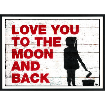 Love You To The Moon And Back von Van Ray in schwarzer Rahmung