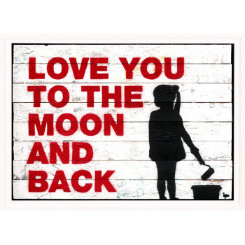 Love You To The Moon And Back von Van Ray in weisser Rahmung