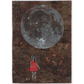 Mondmädchen - Unikat auf Holz
